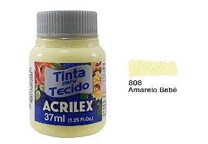 Acrilex - Tinta p/ Tecido Fosca 37ml - Amarelo Bebê (808)
