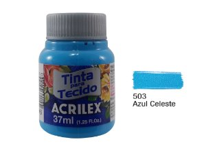 Acrilex - Tinta p/ Tecido Fosca 37ml - Azul Celeste (503)