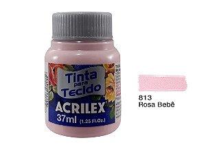 Acrilex - Tinta p/ Tecido Fosca 37ml - Rosa Bebê (813)