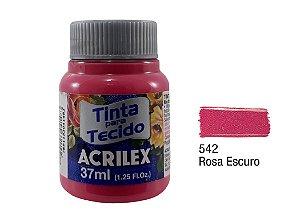 Acrilex - Tinta p/ Tecido Fosca 37ml - Rosa Escuro (542)