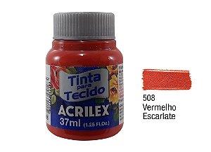 Acrilex - Tinta p/ Tecido Fosca 37ml - Vermelho Escarlate (508)