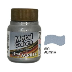 Acrilex - Tinta Metal Colors 37ml - Alumínio (599)