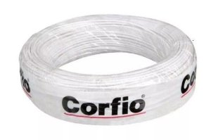 Corfio Granel - Rolo Cabo Flexível - 750V - 2,5mm - 1MT - Branco - Antichama - BWF