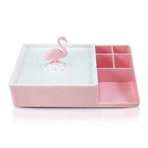 Organizador Multiuso Com Espelho Flamingo Rosa e Branco - Jacki Design
