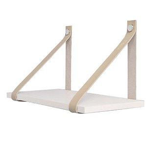 DiCarlo - Prateleira De Tiras Couro - Branco / Nude - 40 x 20cm