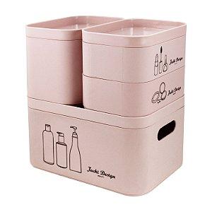 Kit Organizador Beauty 4 Peças Rosa - Jacki Design
