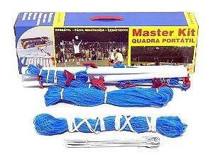 Kit Rede Quadra Rede De Peteca Portátil Master Completo