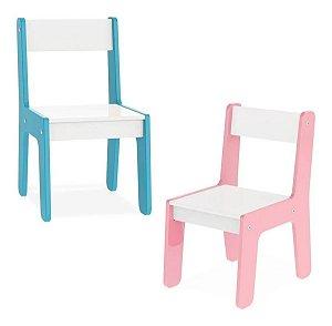 Cadeira Cadeirinha Infantil Mdf Mesinha Junges Azul Ou Rosa