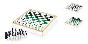 Jogos Tabuleiro 3 Em 1 Xadrez Damas Trilha Estojo Brinquedos