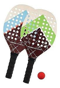 Kit Raquetes Beach Tennis 2 Raquetes 1 Bola