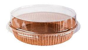 Forma Torta Pie Kraft Ecopack - Redonda M COM Tampa - 5 Unidades