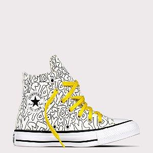Tênis Converse All Star Chuck Taylor Hi - Branco/Amarelo