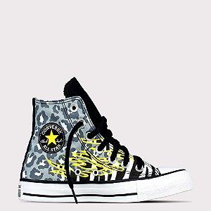 Tênis Converse All Star Chuck Taylor Hi - Preto/Amarelo Claro