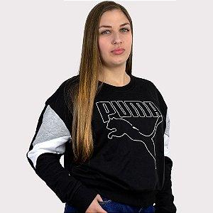 Moletom Feminino Puma Rebel Crew - Black