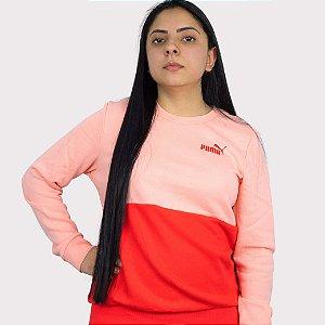 Moletom Puma Ess+ Colourblock Crew TR Apricot - Blush
