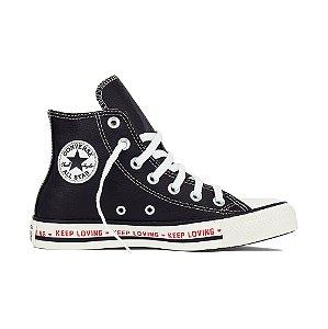 Tênis Converse All Star Cano Alto Chuck Taylor Couro Keep Loving - Preto