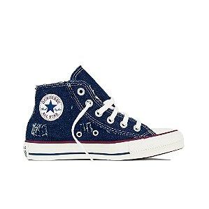 Tênis Converse All Star Cano Médio Jeans - Azul