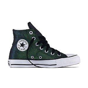 Tênis Converse All Star Chuck Taylor Cano Alto Hi - Preto C/ Verde Brilhante