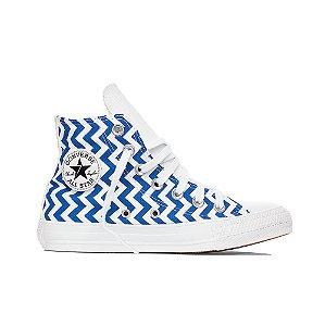 Tênis Converse All Star Chuck Taylor Hi - Listrado Branco C/ Azul Aurora