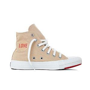 Tênis Converse All Star Chuck Taylor Hi - Bege/Vermelho