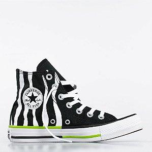 Tênis Converse All Star Chuck Taylor Hi - Preto/Verde Limão