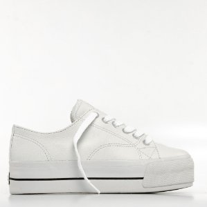 Tênis Mary Jane Groove Leather Feminino - Branco