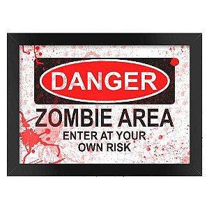 Poster com Moldura Danger Zombie