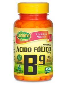 Vitamina B9 Ácido Fólico 500mg 60 Cápsulas - Unilife