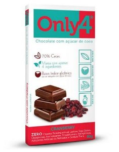 Chocolate Only4 70% Cacau Cranberry 80g - Genevy