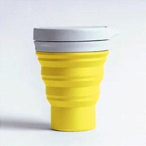 Kit Copo de Silicone Amarelo 400ml + Canudo Dourado - Menos Um Lixo e Econudo