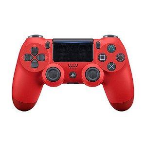 Controle Sony Dualshock 4 Magma Red/Vermelho sem fio (Com led frontal) - PS4