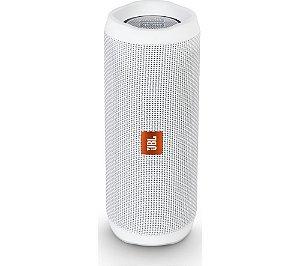 Caixa de Som Portátil Bluetooth Stereo Speaker JBL Flip 4 Branca À Prova d'agua