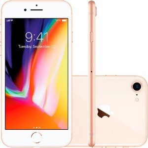 Apple iPhone 8, Chip A11, iOS 11, Tela 4,7´, 256GB, Câmera de 12MP, 4G Dourado