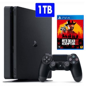 Console PlayStation 4 Slim 1TB com jogo Red Dead Redemption 2 (Lançamento) PS4 - Sony
