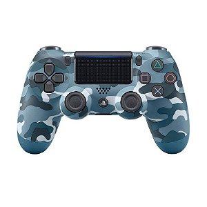 Controle Sony Dualshock 4 Blue Camouflage/Camuflado Azul sem fio (Com led frontal) - PS4