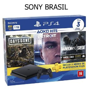 Console Playstation 4 Slim 1TB Bundle Hits Days Gone, Detroit, Rainbow Six Siege - Sony Brasil