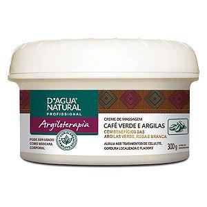 Creme de Massagem Café Verde e Argilas 300G D'Agua Natural