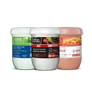 D'Agua Natural Kit Esfoliante Apricot Forte + Gel Redutor com Cafeína + Creme Pimenta Negra