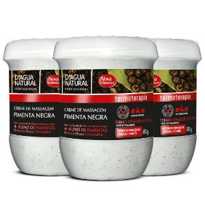 Kit Creme Massagem Pimenta Negra D'Agua Natural 3 Unid. 650g Cada