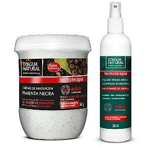 D'Agua Natural Kit Creme Massagem Pimenta Negra + Fluído Termo Ativo