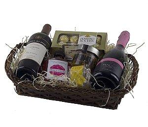 Cesta de Presente Especial Vinho e Espumante