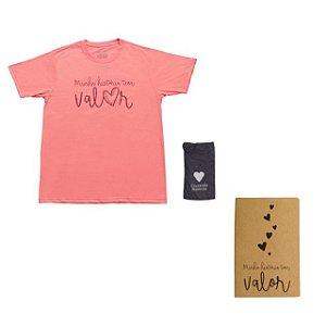 Kit - Camiseta rosa + Caderneta