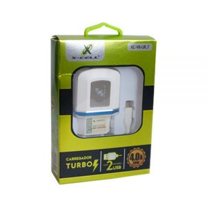 CARREGADOR TURBO 4.0A 20w V8 X-CELL 2USB + Cabo V8