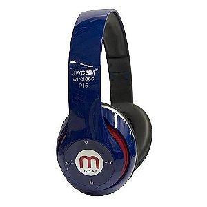 Fone de Ouvido Power Ful Bass Azul com Bluetooth/ FM - P15 JWCOM