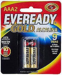 PILHA AAA 2 ALCALINA GOLD PALITO CARTELA COM 2 PILHAS 1,5vcc EVEREADY