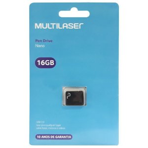 Pen Drive Multilaser Nano 16GB Usb 2.0 Preto PD054