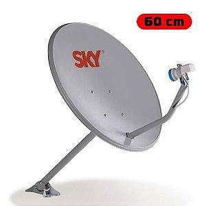 Antena DTH Banda KU Offset 60CM SKY com Furo na Chapa - S4 W3SAT