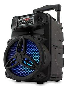 CAIXA DE SOM GRASEP D-BH8105 PRETA C/ MICROFONE, CONTROLE E RODINHAS - ENTRADAS USB - CARTÃO SD - RÁDIO FM INTEGRADO - 30W RMS