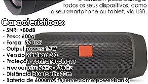 Caixa de Som Tipo Jbl bluetooth 3.0 charge 2+ 15w