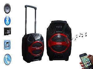 Caixa de som com bluetooth 120w portátil com  rodinhas
